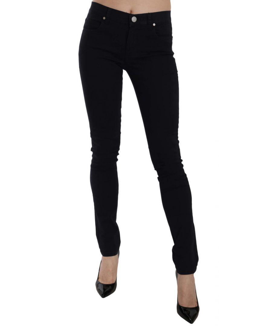 Image for Versace Jeans Black Gabardine Stretch Luxor Slim Pants