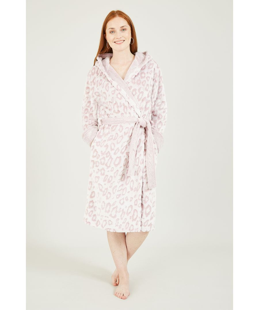Image for Yumi Pink Leopard Luxury Fleece Long Robe