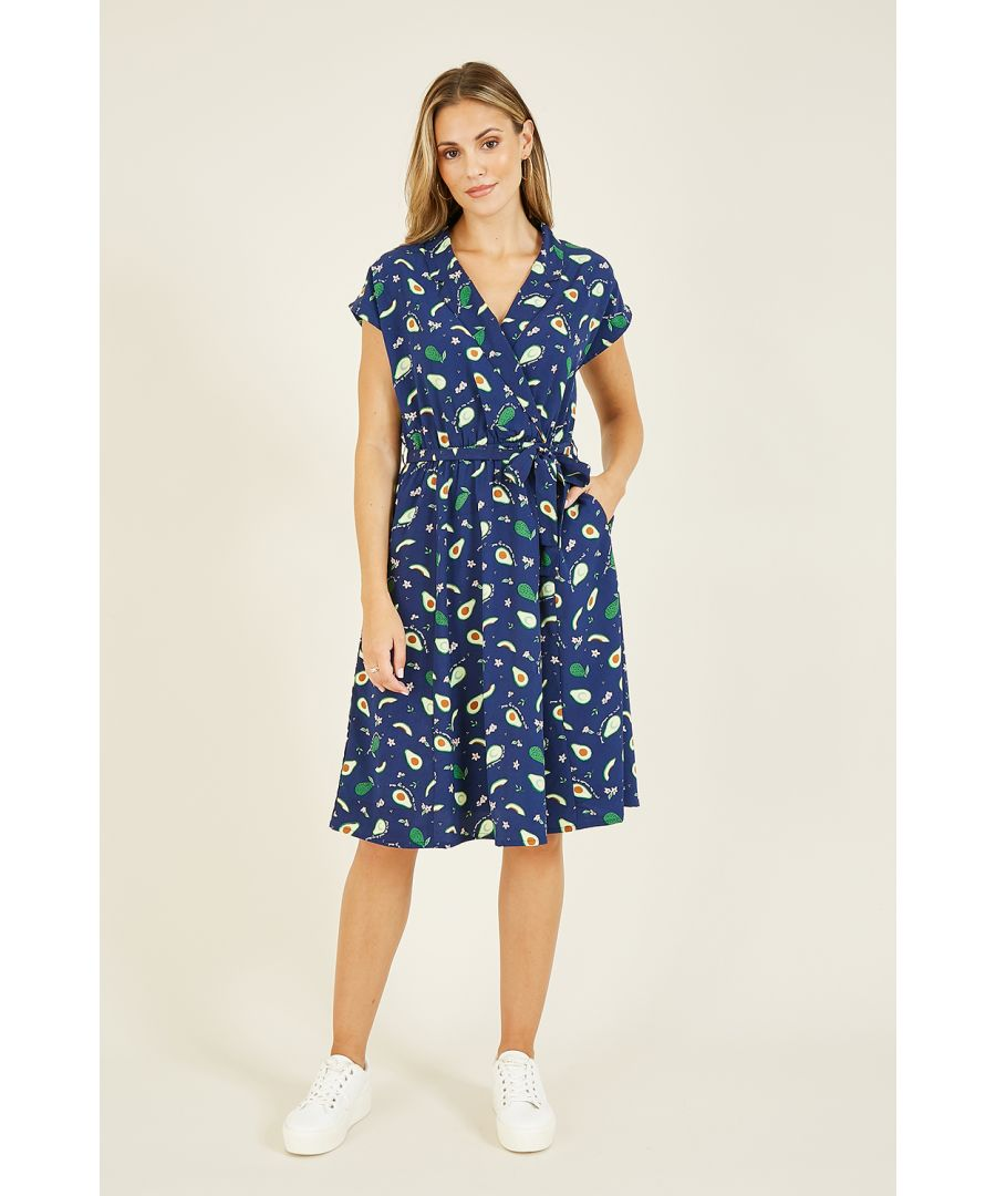 Image for Yumi Avocado Print Wrap Over Dress With Pockets
