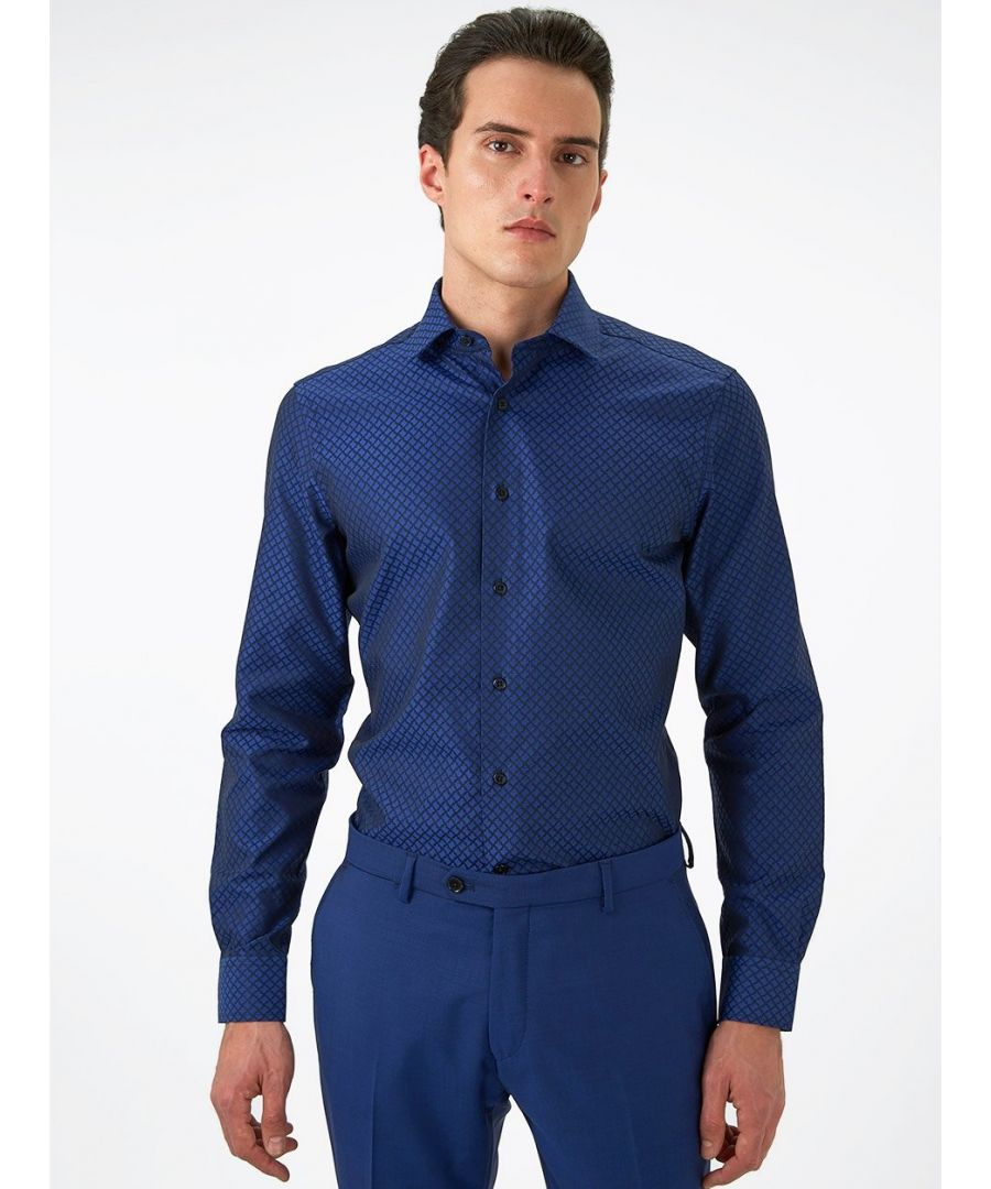 Image for Geo Jacquard Shirt Blue