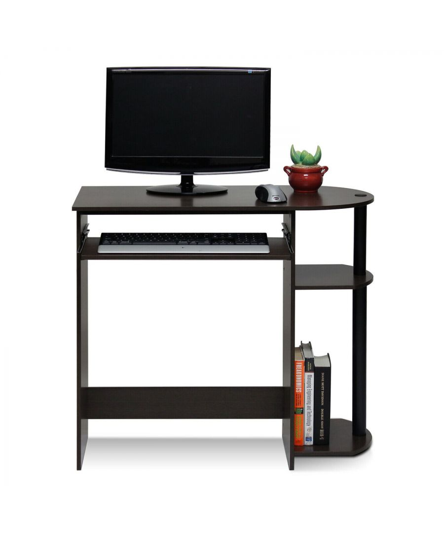 Image for Furinno Simplistic Easy Assembly Computer Desk - Dark Brown