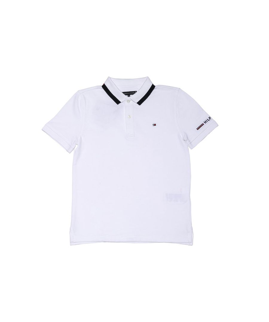 Image for Boy's Tommy Hilfiger Junior Organic Cotton Logo Polo Shirt in White