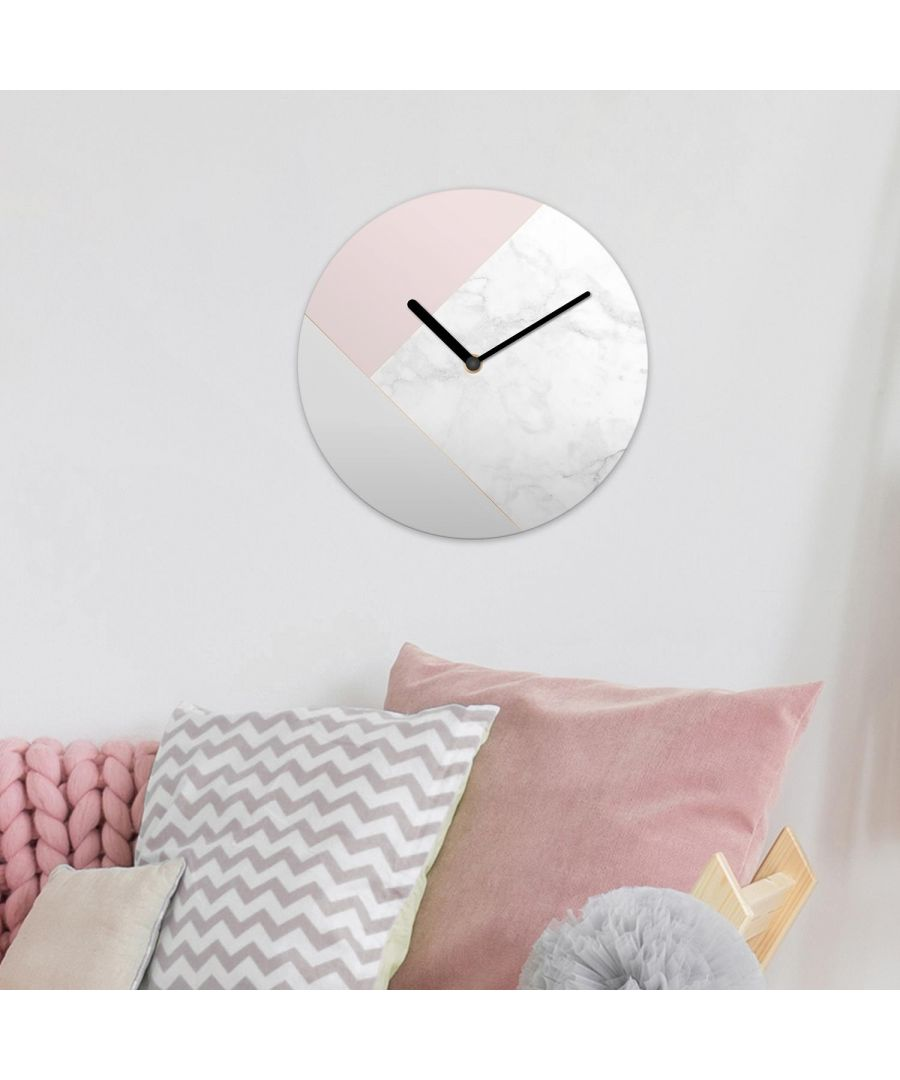 Image for White Marble Minimalist Pink Geometric Wall Clock