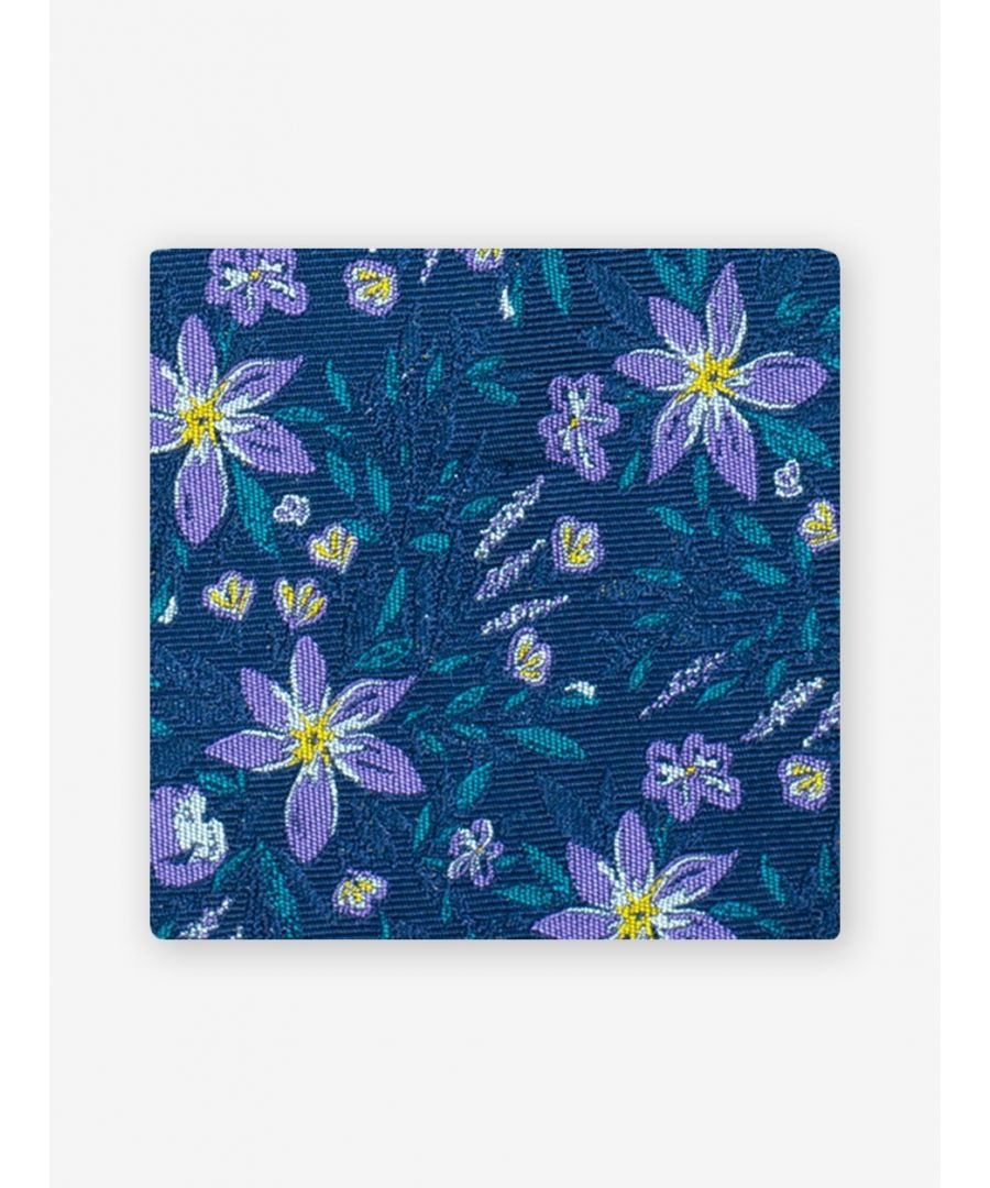 Image for Mollie Floral Pocket Square Navy