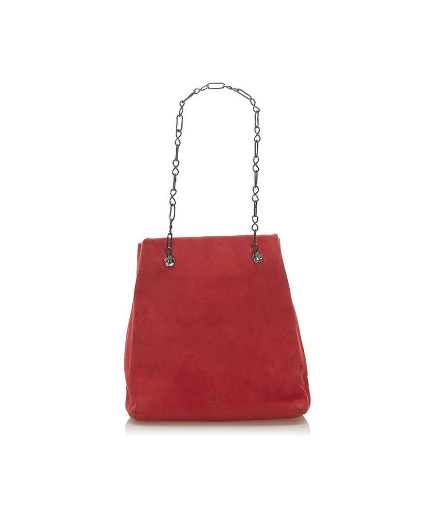 Image for Vintage Prada Suede Chain Shoulder Bag Red