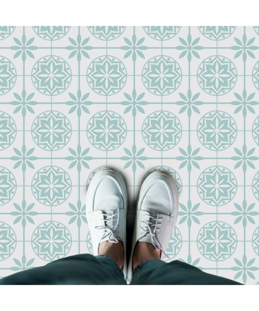 Image for WFS6020 - Seamless Turquoise Shaded Floral Pattern Floor Stickers 120cm x 60 cm