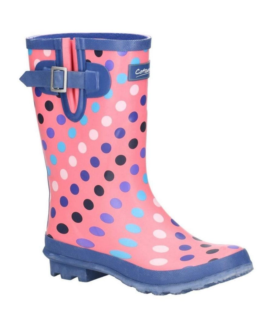 Image for Cotswold Womens/Ladies Paxford Elasticated Mid Calf Wellington Boot (Pink/Multi Spot)