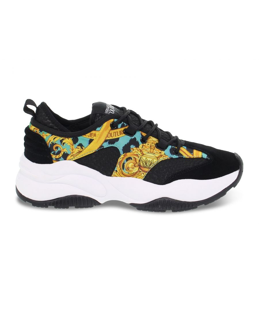 Image for VERSACE JEANS WOMEN'S E0VVBSI471374899 BLACK SUEDE SNEAKERS