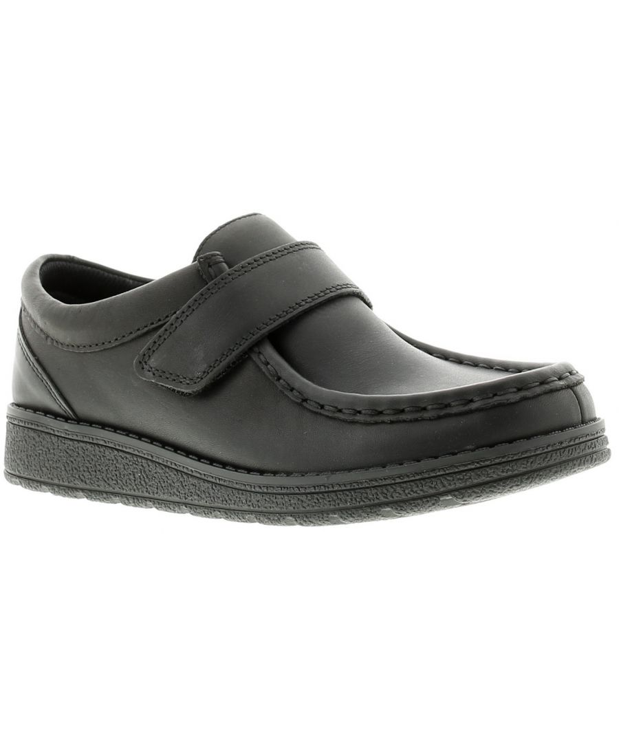 Image for Childrens Leather Upper School Shoes Featureing A Moccasin Detailing On The Toe, Prominent Seams And