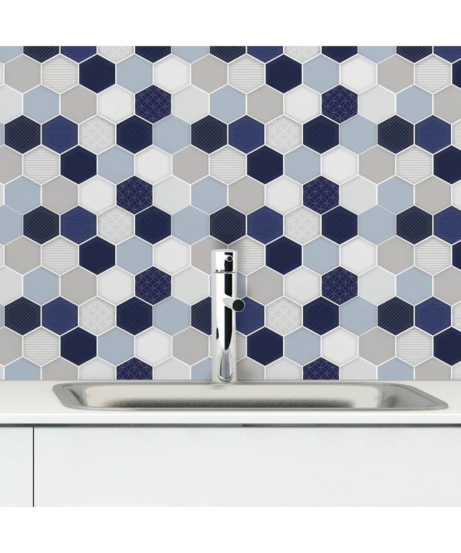 Image for Honey Hexa Blue and Cream Glossy 3D Self-adhesive DIY Tile Stickers 30 x 15cm (11.8in x 6 in) - 12pcs in a pack