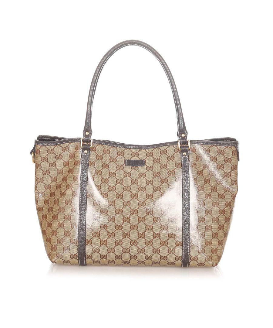 Image for Vintage Gucci GG Crystal Tote Bag Brown