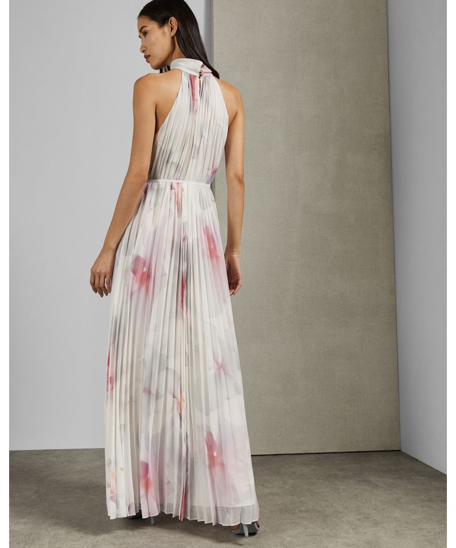 Image for Ted Baker Michali Cotton Candy Pleated Maxi Dress, White
