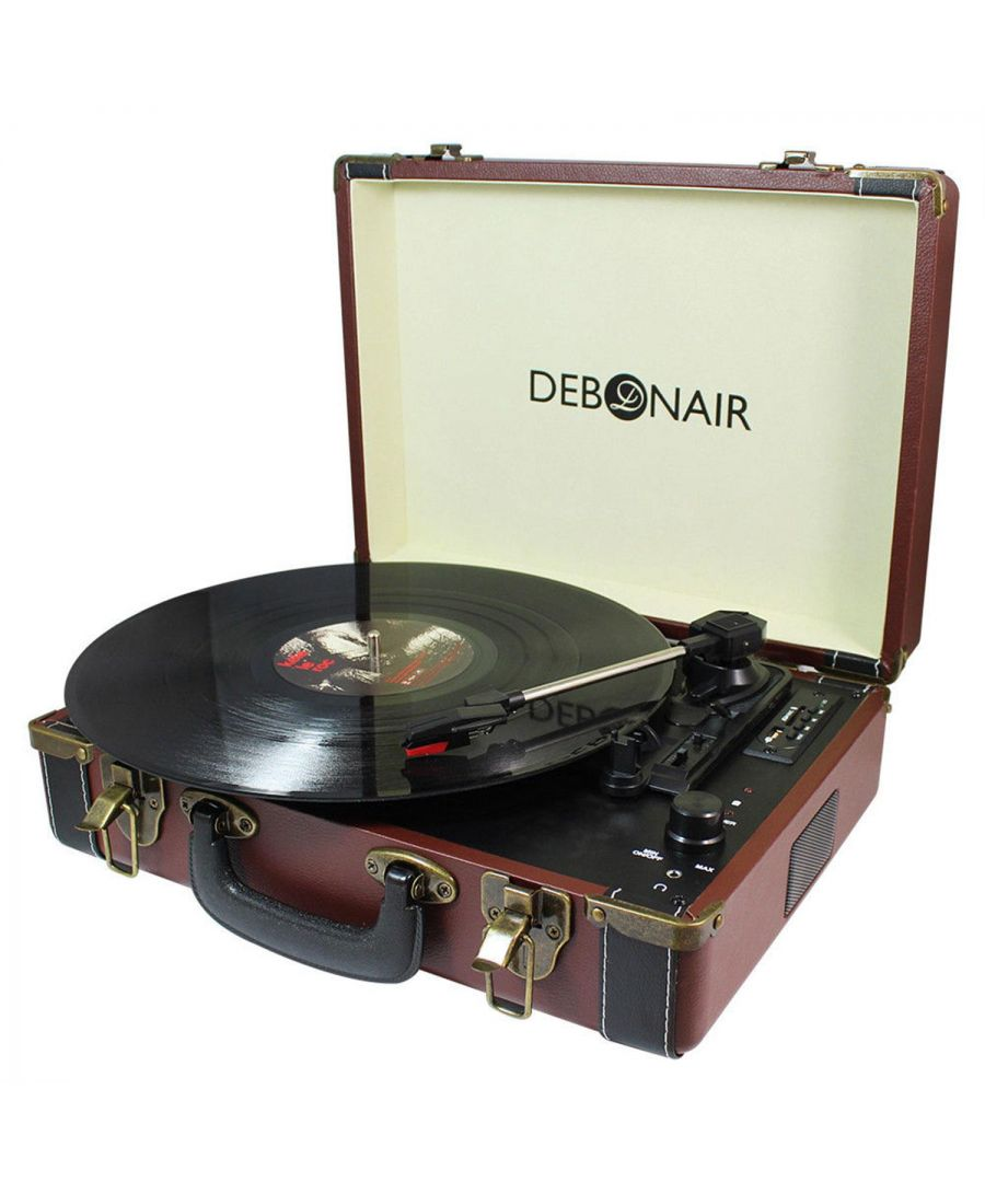Image for Debonair Retro Turntable With Bluetooth and USB Input Brown and Black