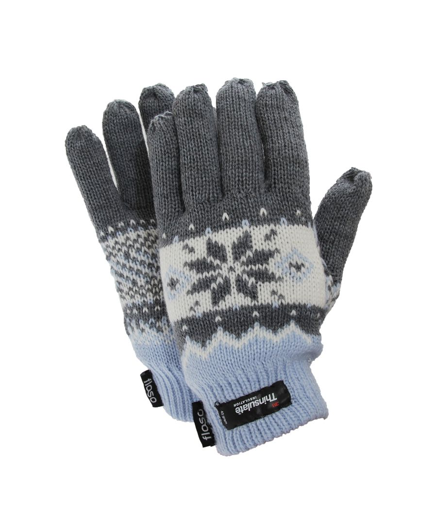 Image for FLOSO Ladies/Womens Thinsulate Fairisle Thermal Gloves (3M 40g) (Blue)
