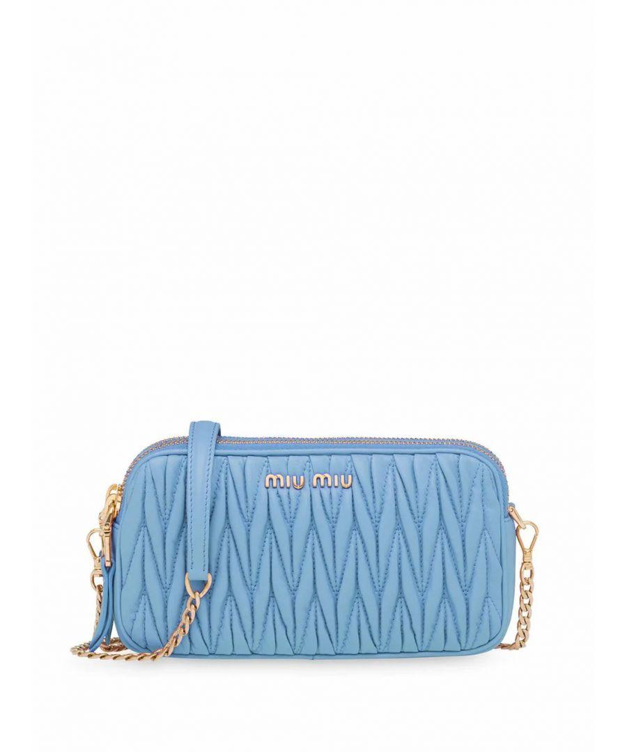 Image for MIU MIU WOMEN'S 5DH045N88F0637 LIGHT BLUE LEATHER SHOULDER BAG