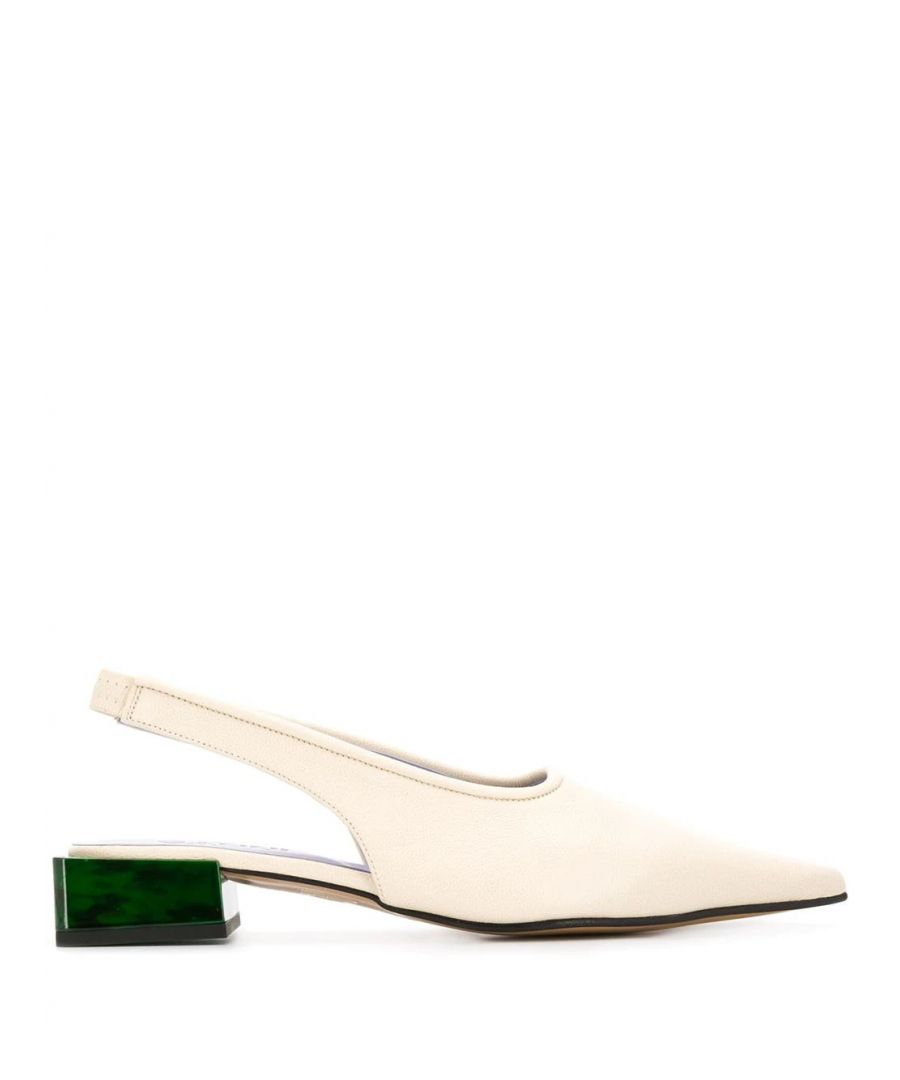 Image for GANNI WOMEN'S S1081135 WHITE LEATHER HEELS