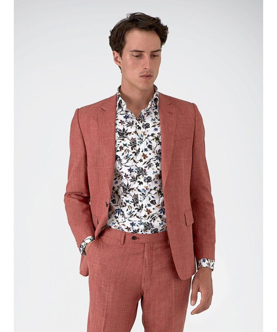 Image for Notch Lapel Plain Textured Jacket Pink