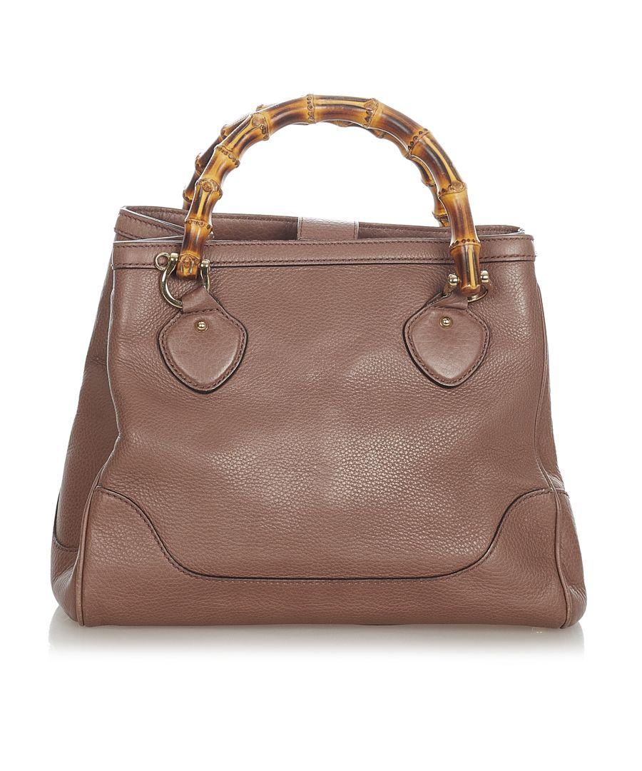 Image for Vintage Gucci Bamboo Diana Leather Handbag Brown