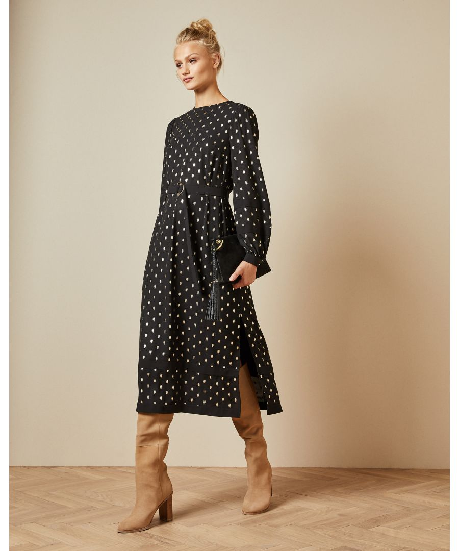 Image for Ted Baker Haylow Long Sleeve Tie Cuff Midi Dress, Black