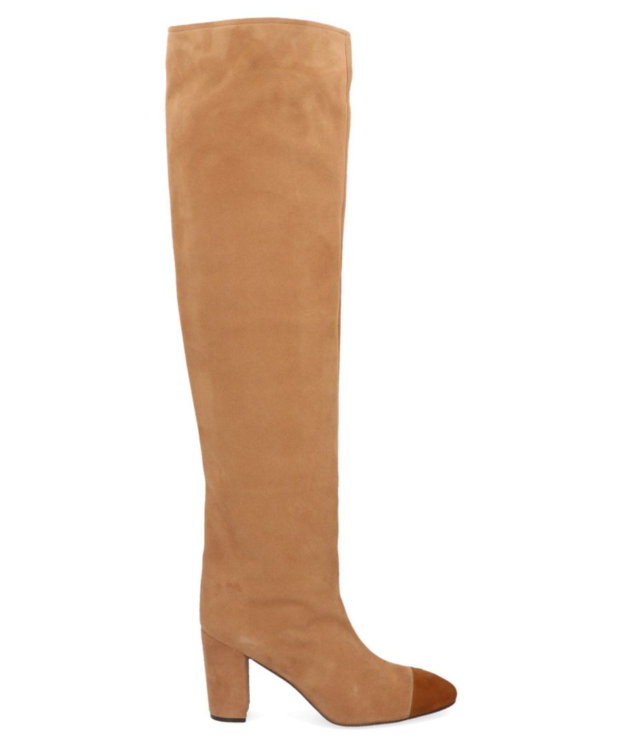 Image for STUART WEITZMAN WOMEN'S KIMBERLY80SUEDECAMEL BEIGE SUEDE BOOTS
