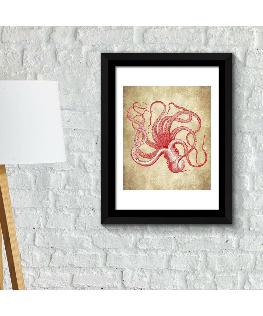 Image for Framed Art 2in1 Octopus Wall Art Poster Framed Photo, Framed Art