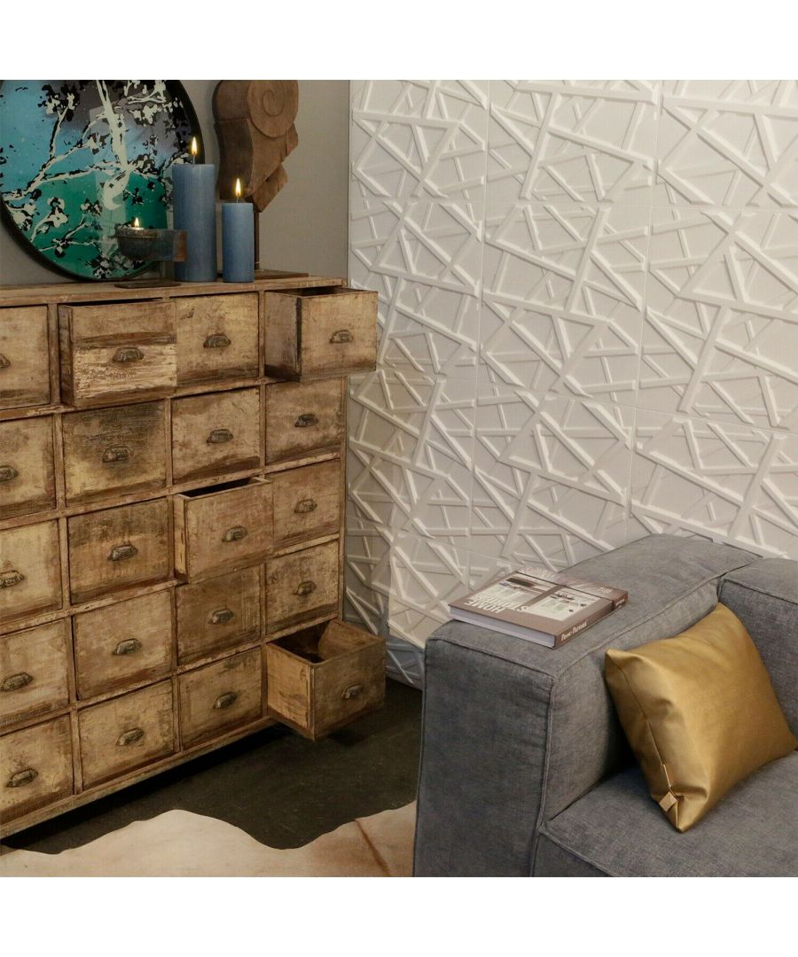 Image for Olivia Eco Friendly 3D Wall Panels Decorative Tiles - 50x50 cm - 12 Boards (for 3 sqm2) 3D Wall Panels, Wallpaper Living Room