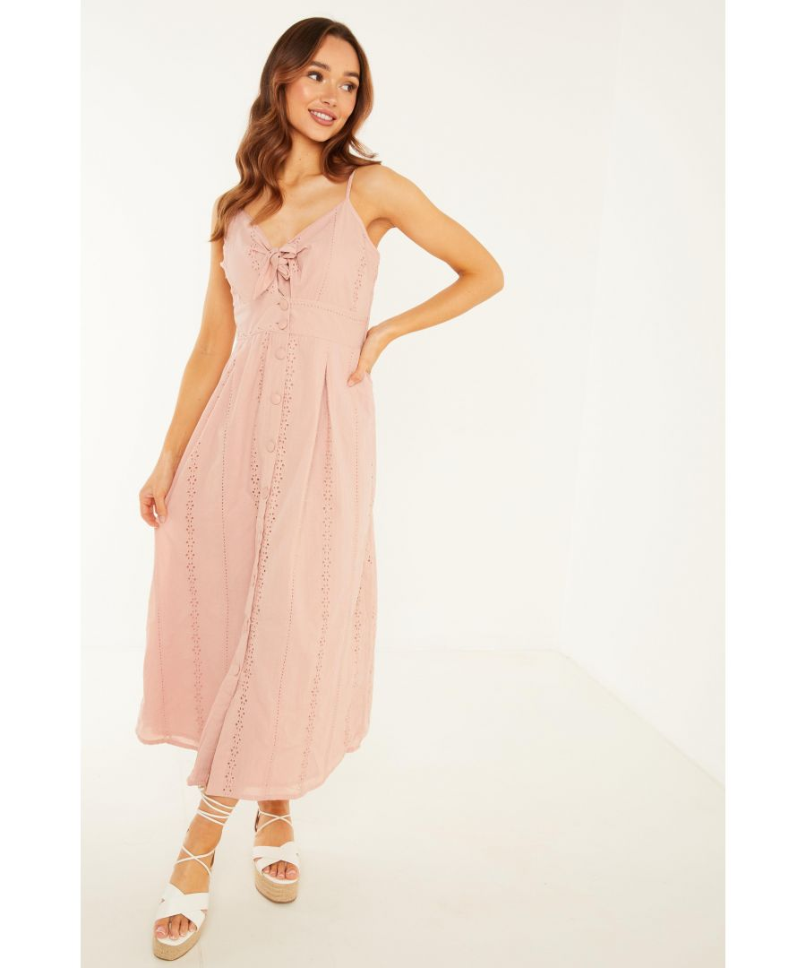 Image for Pink Broderie Tie Midi Dress