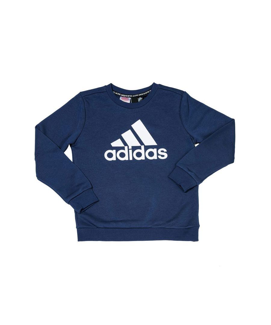 Image for Boys' adidas Junior Must Haves Crew Sweatshirt Indigo 13-14in Indigo