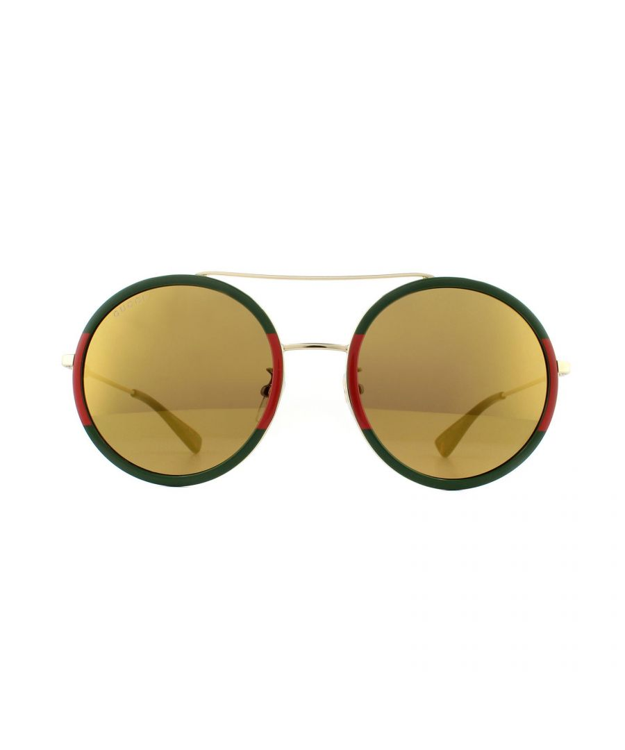 Image for Gucci Sunglasses GG0061S 012 Gold Green and Red Gold Mirror