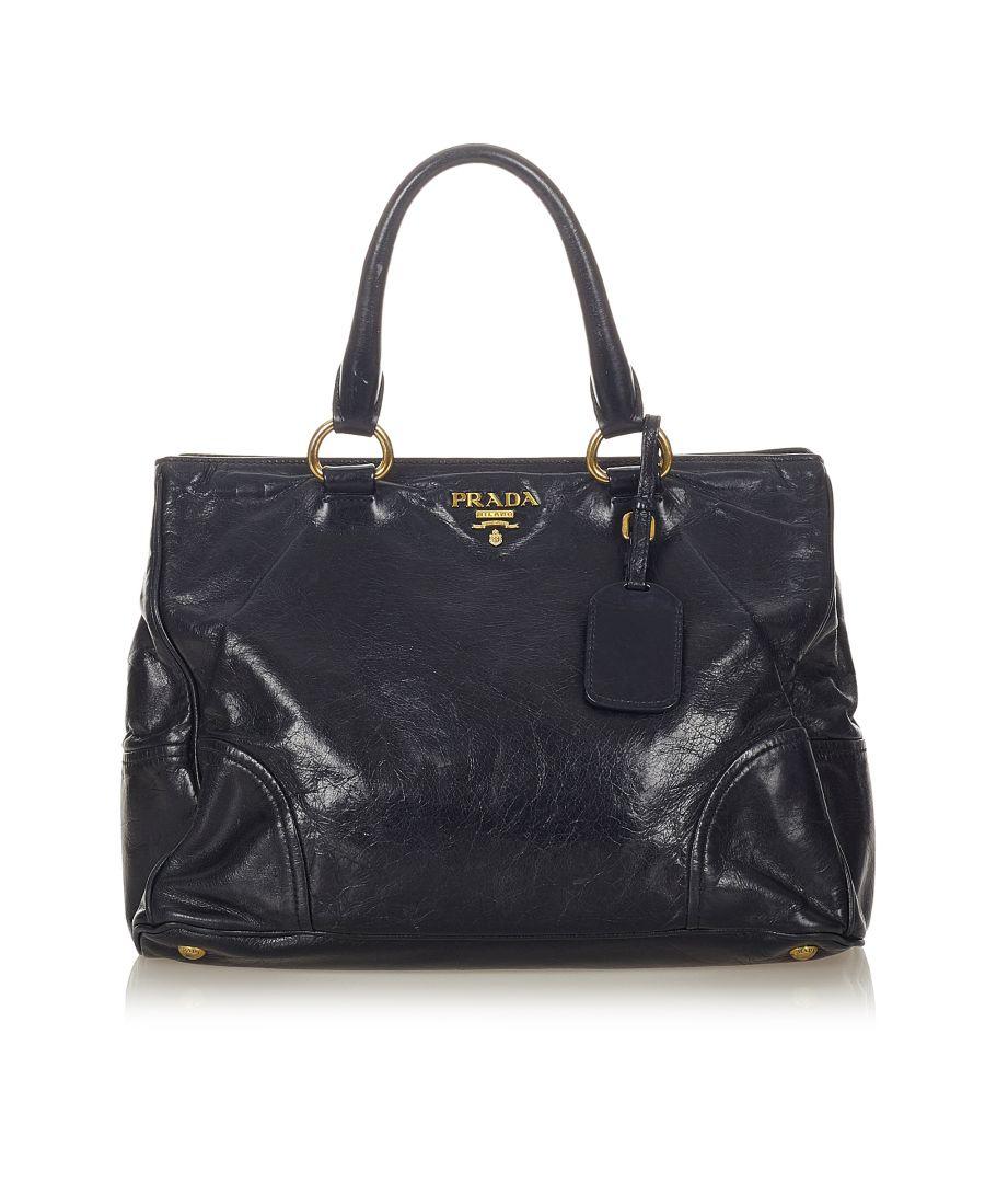 Image for Vintage Prada Vitello Shine Handbag Blue