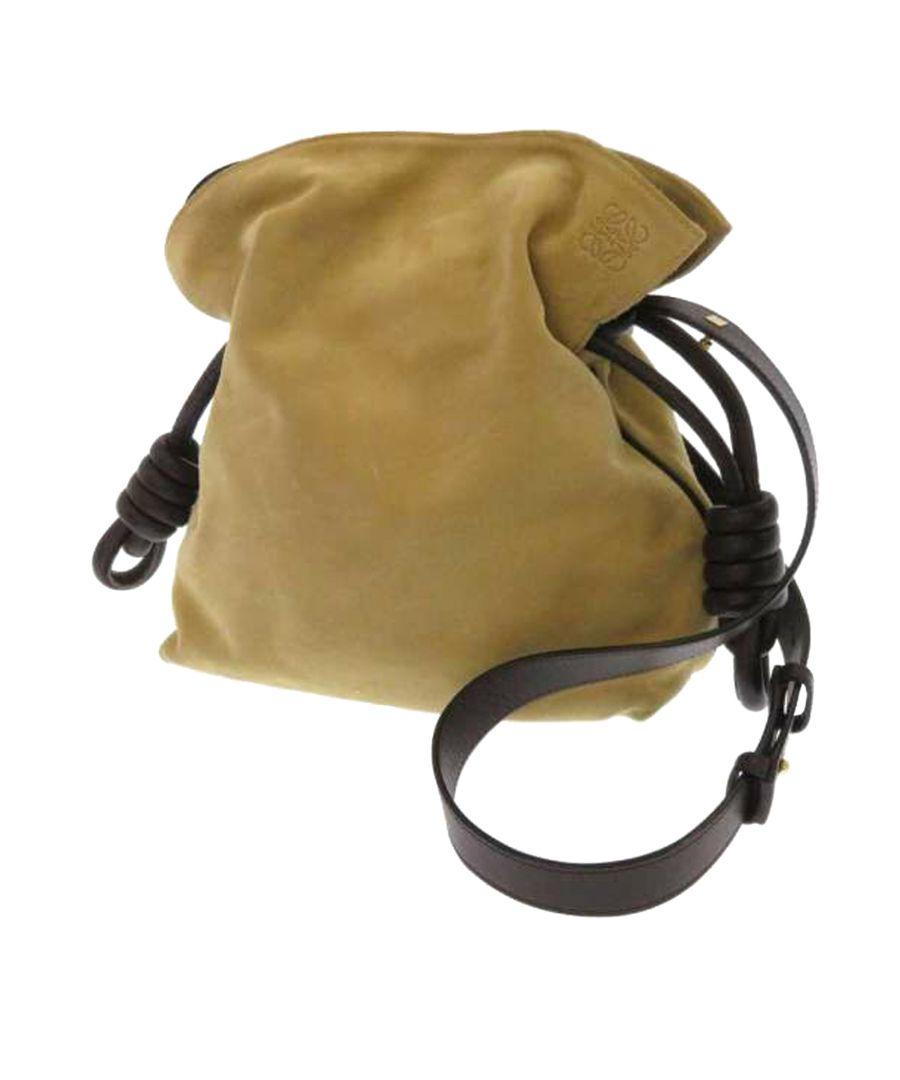 Image for Vintage Loewe Flamenco Knot Suede Shoulder Bag Brown