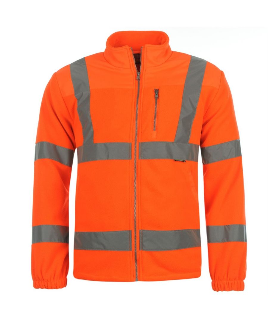 Image for Dunlop Mens Hi Vis Fleece Safety Jacket Long Sleeve Full Zip Outerwear Top