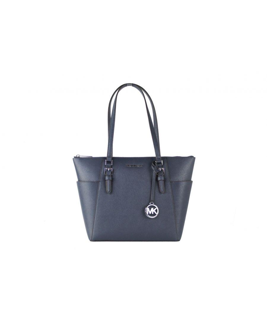Image for Michael Kors Charlotte Signature Leather Large Top Zip Tote Handbag Bag