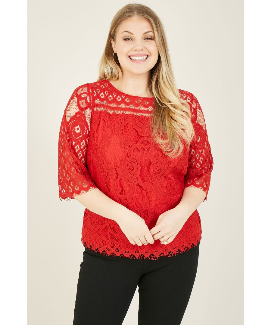 Image for Yumi Curve Red Lace Top