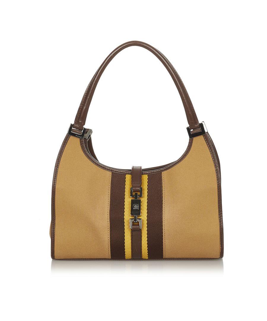 Image for Vintage Gucci Web Jackie Canvas Handbag Brown