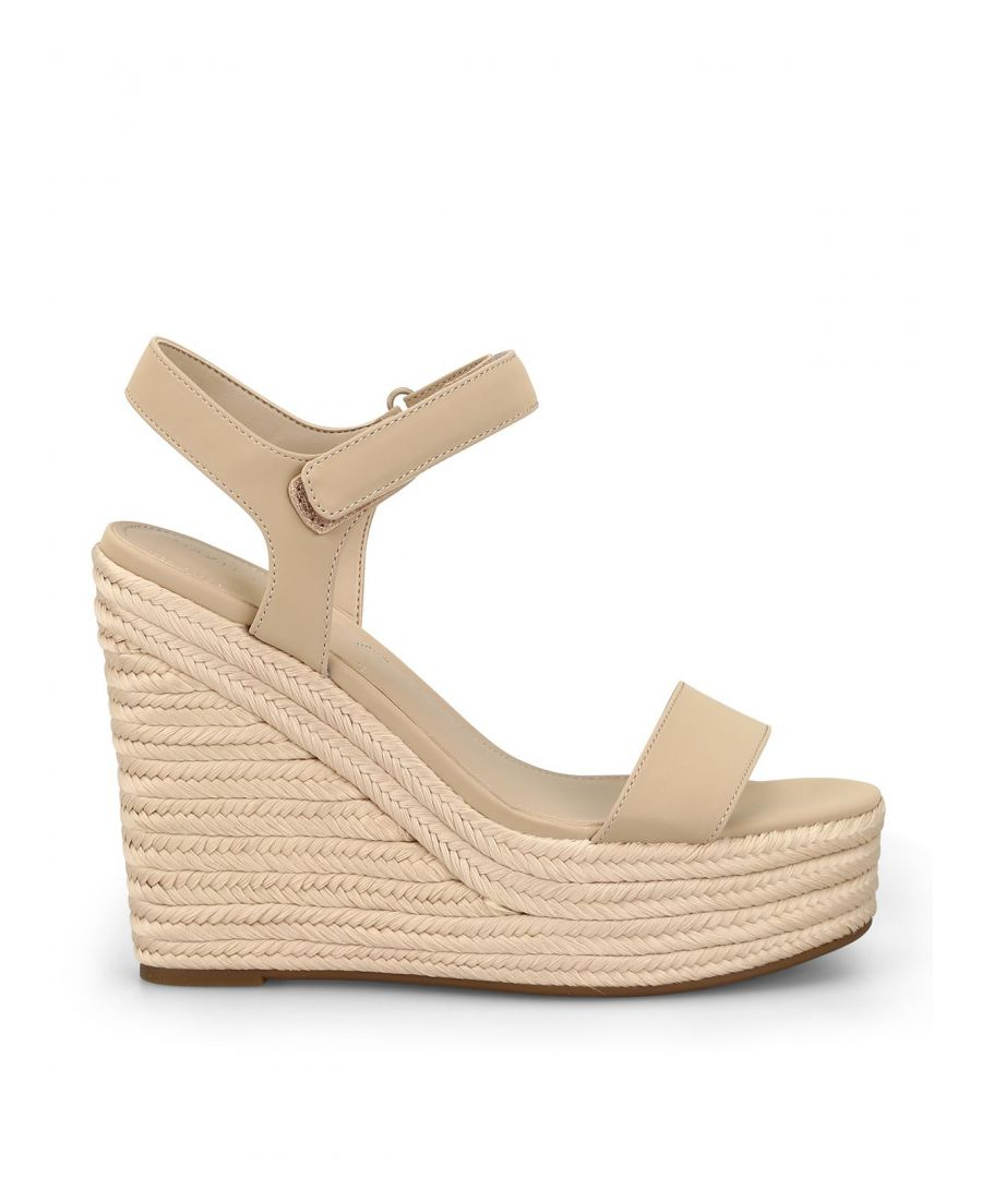 Image for KENDALL + KYLIE WOMEN'S KKGRAND223LNA BEIGE LEATHER WEDGES