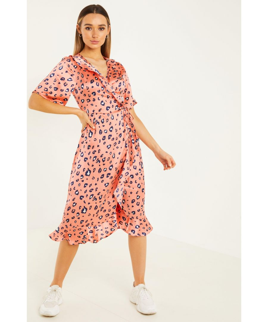 Image for Coral Leopard Print Wrap Midi Dress