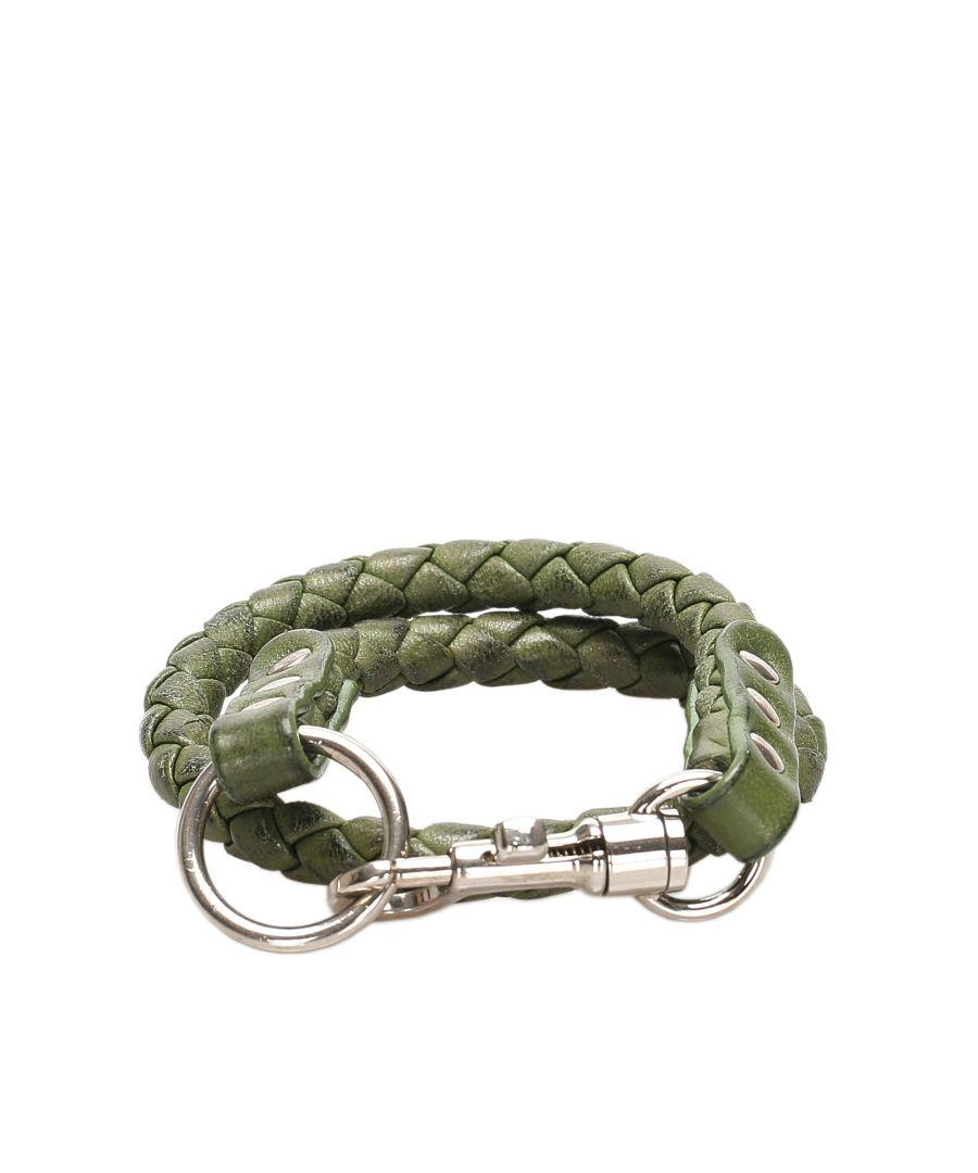 Image for Vintage Bottega Veneta Intrecciato Key Chain Green