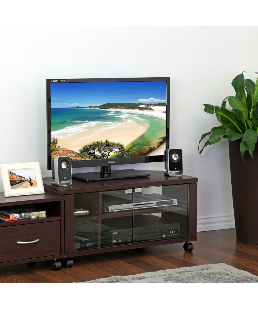 Image for Furinno Indo 2x2 TV Stand with Double Glass Doors and Casters - Espresso