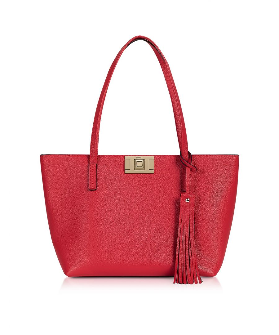 Image for FURLA WOMEN'S 1045415 RED LEATHER TOTE