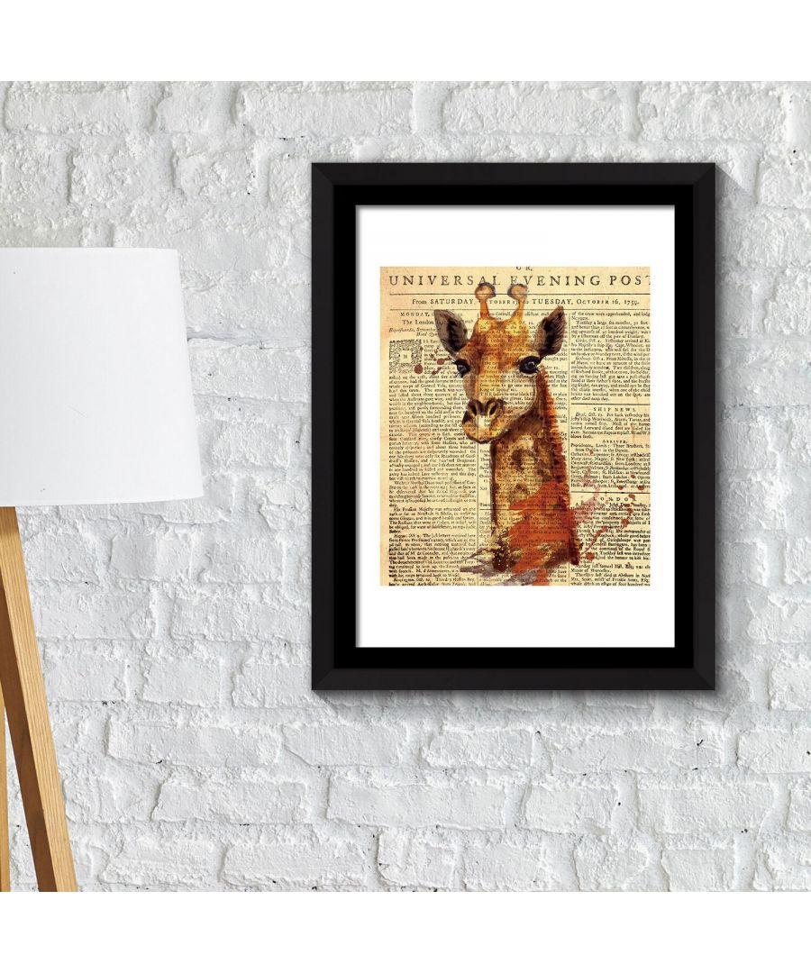 Image for Framed Art 2in1 Giraffe Newspaper Animal Poster Framed Photo, Framed Art