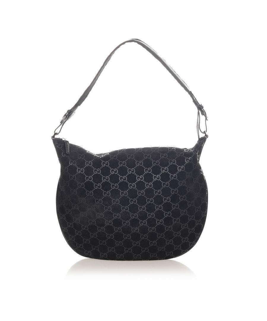 Image for Vintage Gucci GG Suede Hobo Bag Black