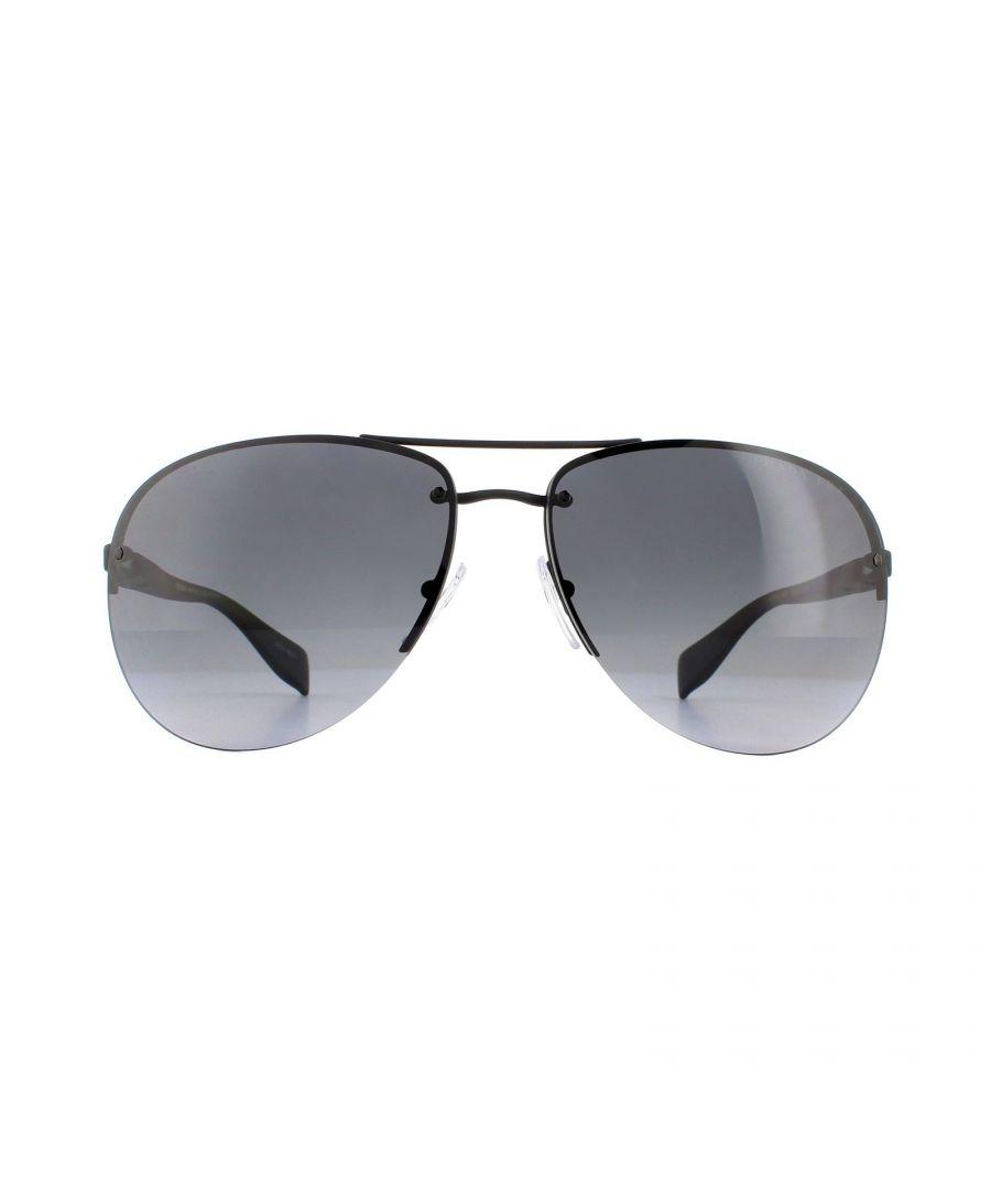 Image for Prada Sport Sunglasses 56MS DG05W1 Black Rubber Polarized Grey Gradient