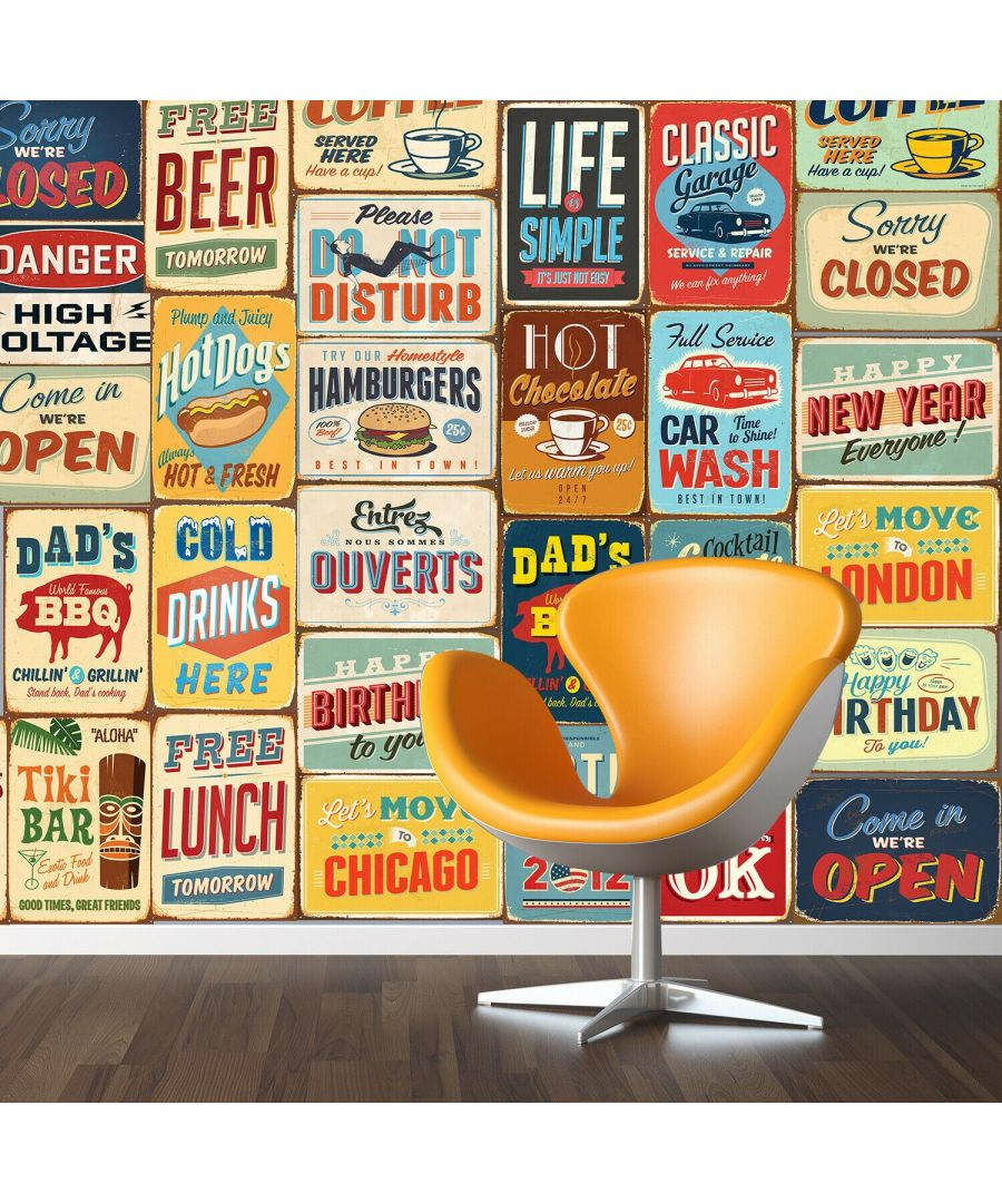 Image for Vintage Metal Sign Wall Stickers Wall Decorations - 30 pieces of A4 collage