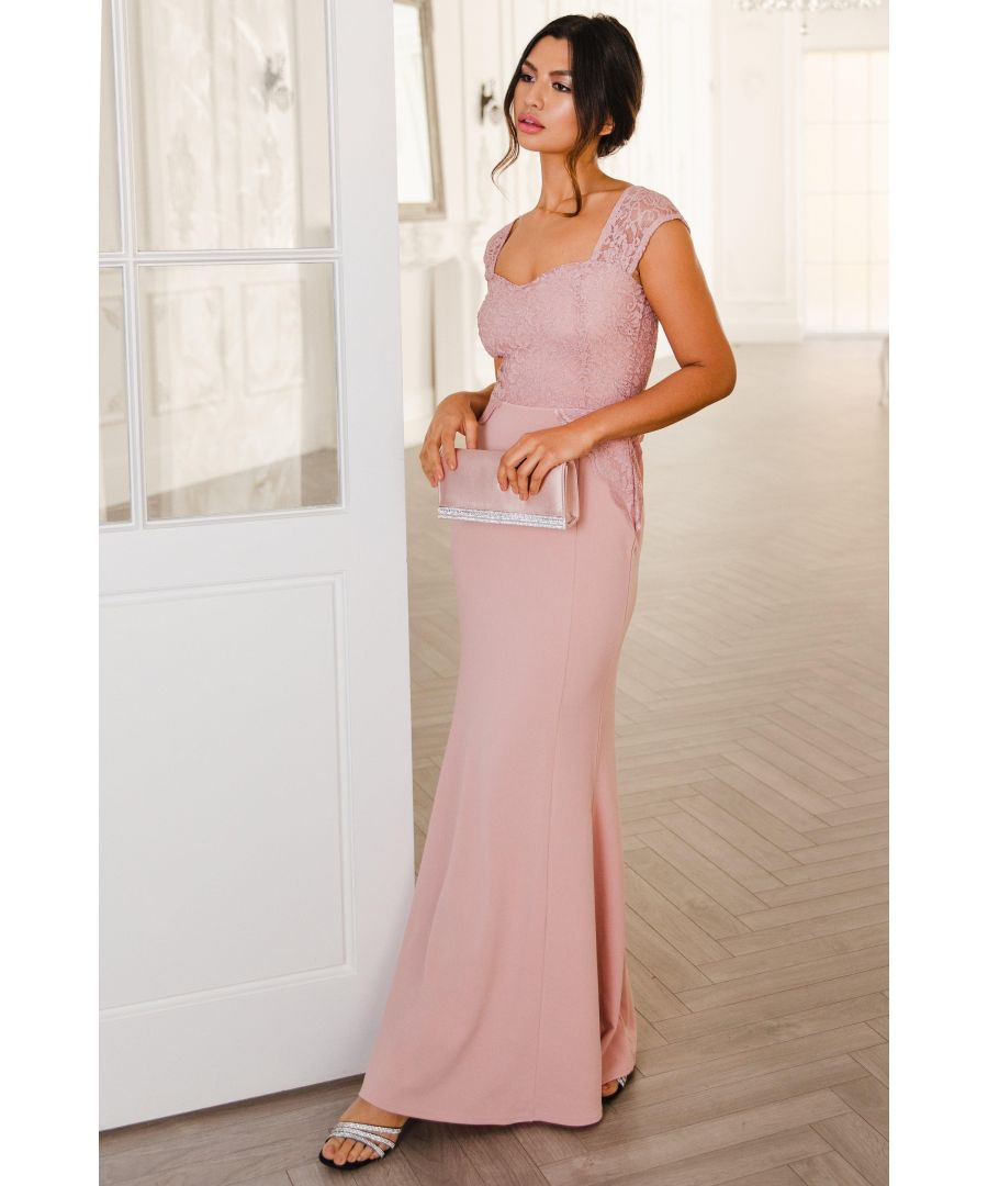 Image for Pink Glitter Lace Maxi Dress