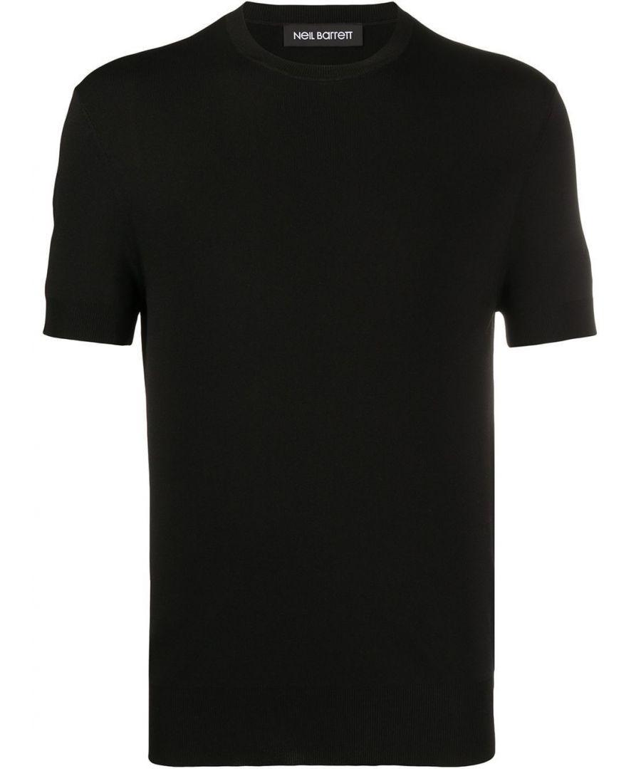 Image for NEIL BARRETT MEN'S PBMA1063EN61001 BLACK VISCOSE T-SHIRT