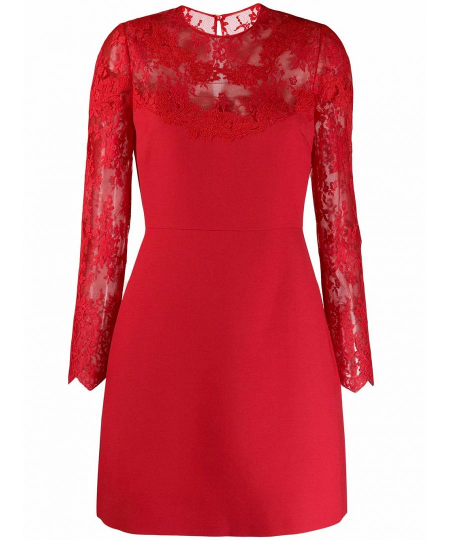 Image for VALENTINO WOMEN'S SB3VA1H01CF157 RED SILK DRESS
