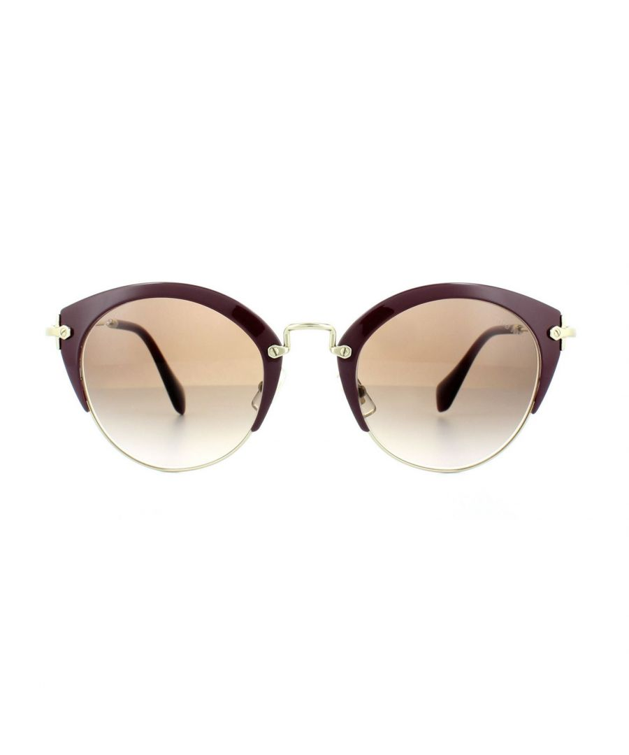 Image for Miu Miu Sunglasses 53RS UA50A6 Amaranth Pale Gold Brown Gradient