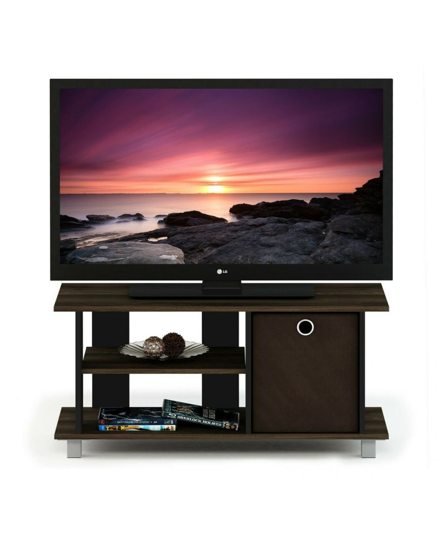 Image for Furinno Simplistic TV Entertainment Center with Bin Drawers, Columbia Walnut/Dark Brown