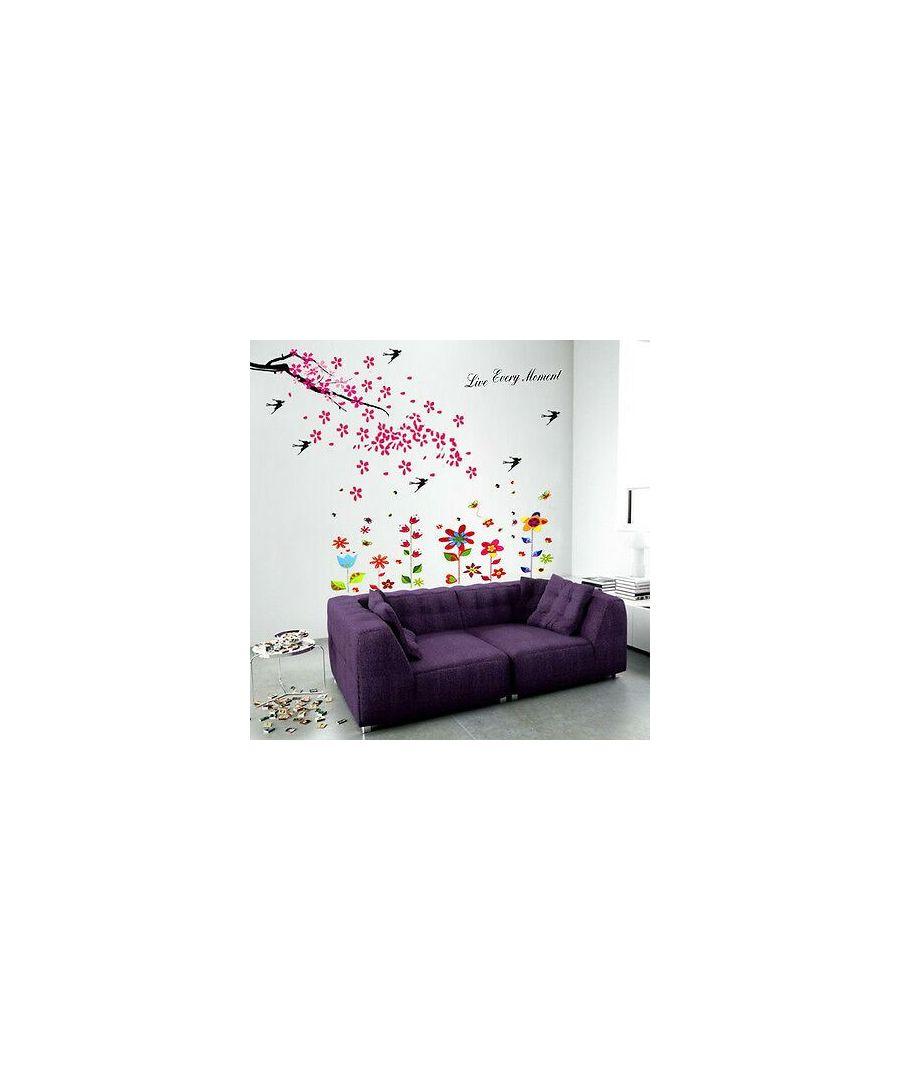 Image for HUGE Flower Swllow Butterflies Children Wall Stickers Bird Decals Tree Paper